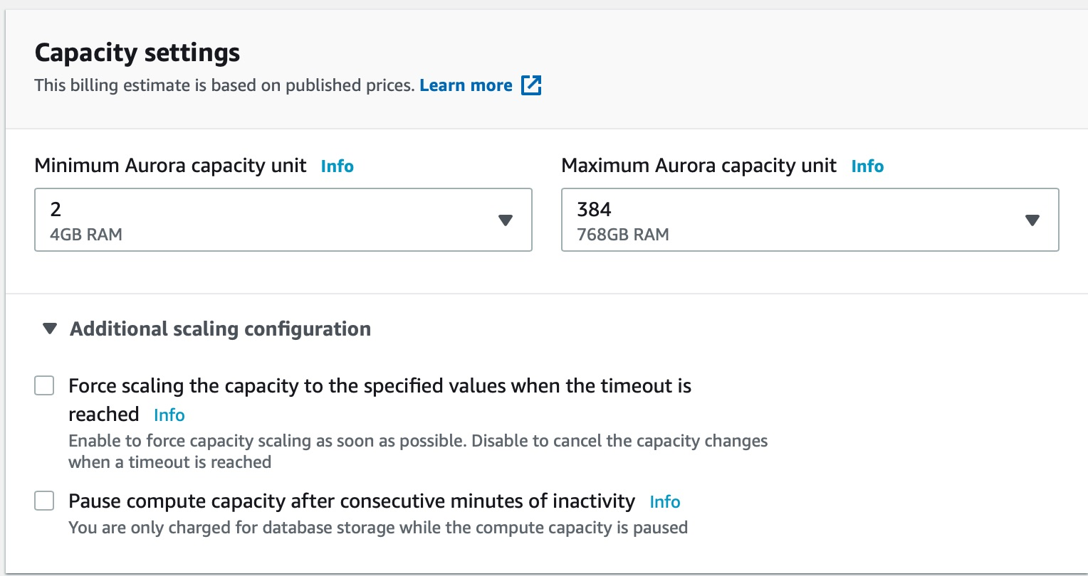 Capacity Settings AWS Offers you